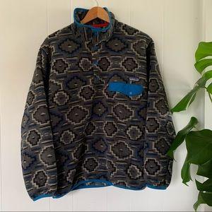 Patagonia Men's Aztec Synchilla Snap T Fleece Sweater Pullover Retro Geometric
